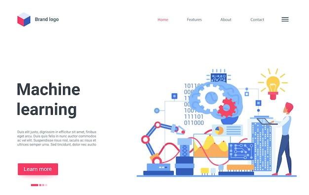 Engenheiro especialista em páginas de destino de aprendizado de ia de máquina ensinando inteligência artificial