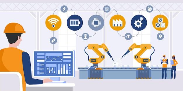 Engenheiro gerente verifica e controla a máquina de braços robóticos de automação