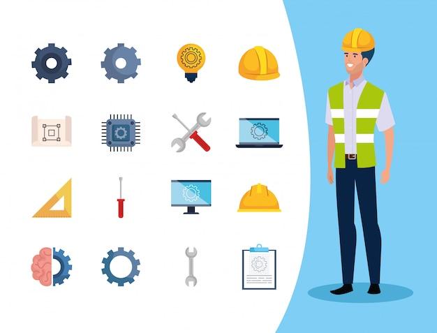 Engenheiro homem com conjunto de ícones de trabalho