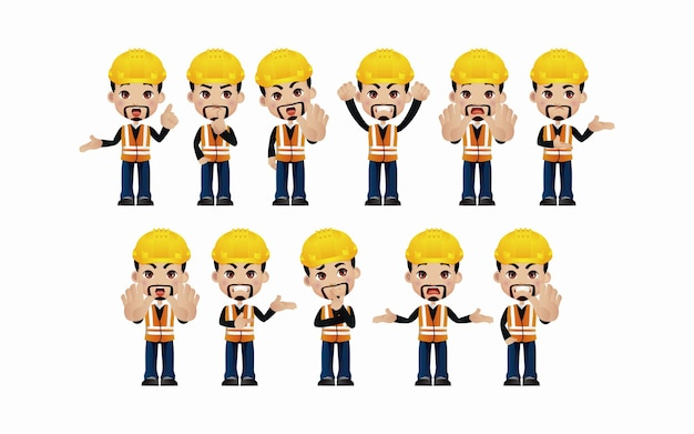 Engenheiro masculino com poses diferentes