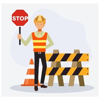 Engenheiro masculino segurando a placa de stop. sem entrada.