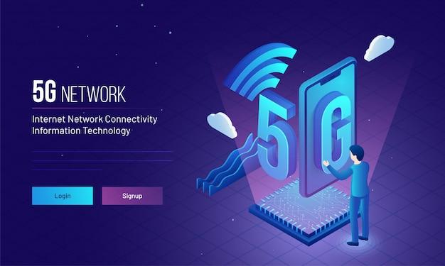 Engenheiro ou desenvolvedor estabelecer rede sem fio 5g.