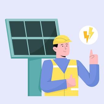 Engenheiro pensando em gerar eletricidade com painel de nuvens solares