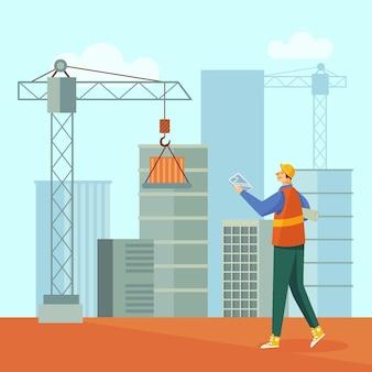 Engenheiro plano orgânico trabalhando na construção