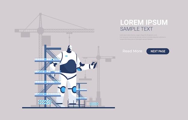 Engenheiro robô capataz moderno contra canteiro de obras com bandeira de guindastes de torre de construção