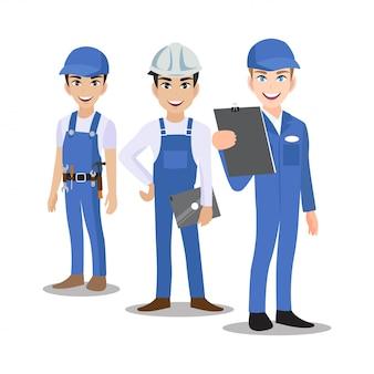 Engenheiro, técnico, construtores e mecânicos pessoas trabalho em equipe personagem de desenho animado ou estilo simples.