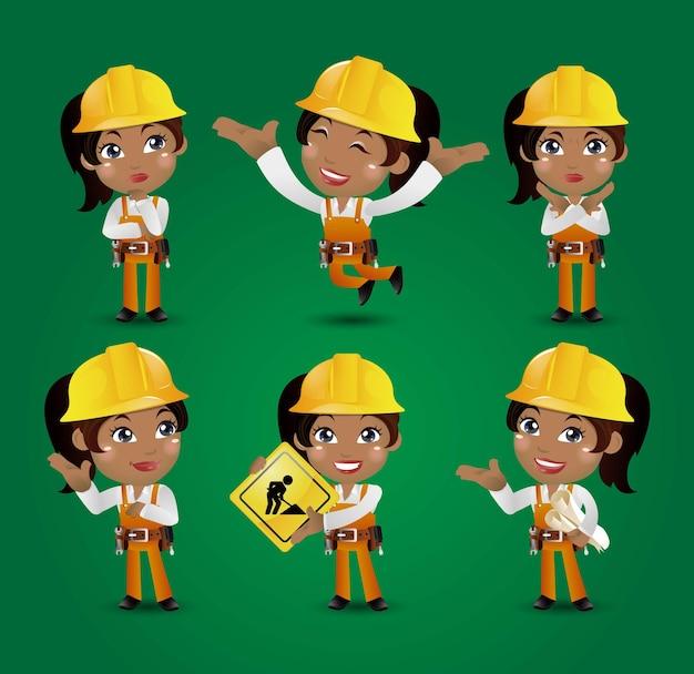 Engenheiro trabalhador construtor de profissões com diferentes poses
