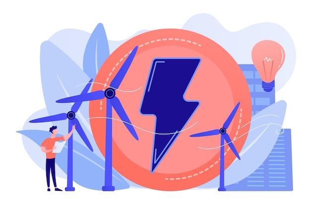 Engenheiro trabalhando com turbinas eólicas produzindo energia verde, lâmpada