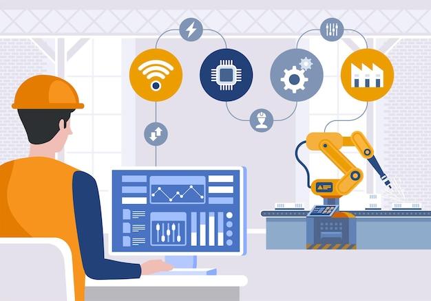 Engenheiro usando computador para controlar braço robótico na fábrica inteligente