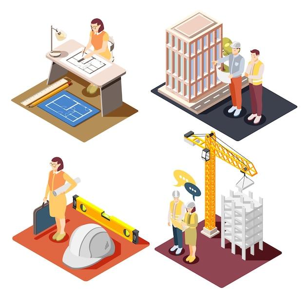 Engenheiros arquitetônicos trabalham conceito 4 composições isométricas com desenho técnico desenho panorâmico supervisão de construção de edifícios