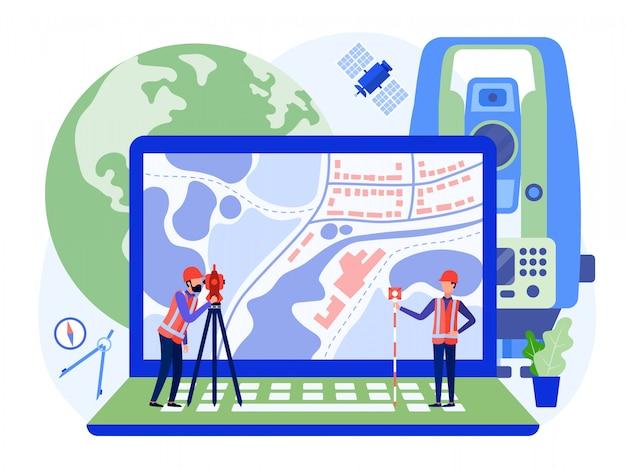 Engenheiros cadastrais conceituais, agrimensores e cartógrafos produzem um levantamento geodésico da área usando teodolito e mapa em um laptop.