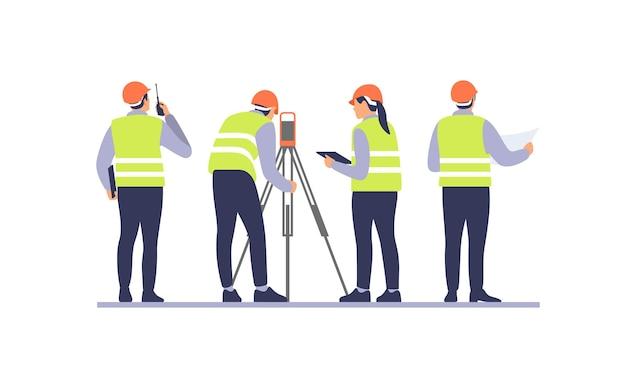 Engenheiros com equipamentos no canteiro de obras. ilustração vetorial