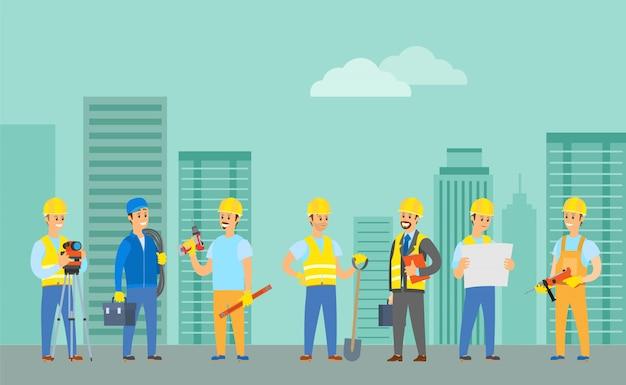 Engenheiros construindo novas casas usando ferramentas