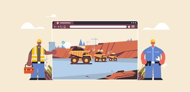 Engenheiros controlando equipamentos profissionais trabalhando na indústria digital de produção de minas de carvão na janela do navegador da web horizontal