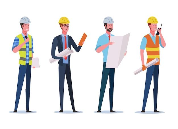 Engenheiros de construção usando capacete de segurança e segurando papel de desenho de construção