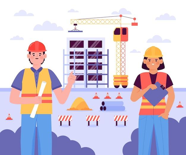 Engenheiros de ilustração plana trabalhando na construção