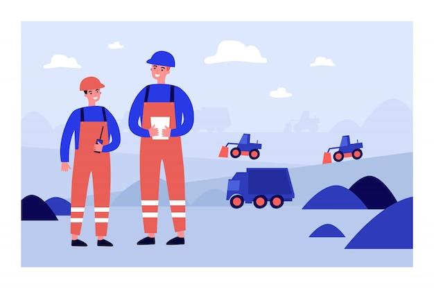 Engenheiros de minas de carvão vestindo uniformes de proteção