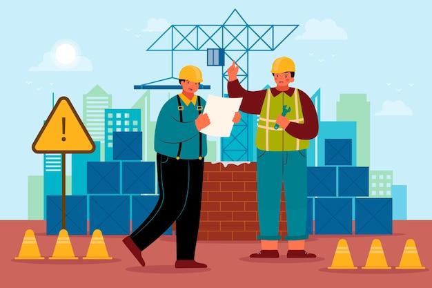 Engenheiros de planos trabalhando na construção