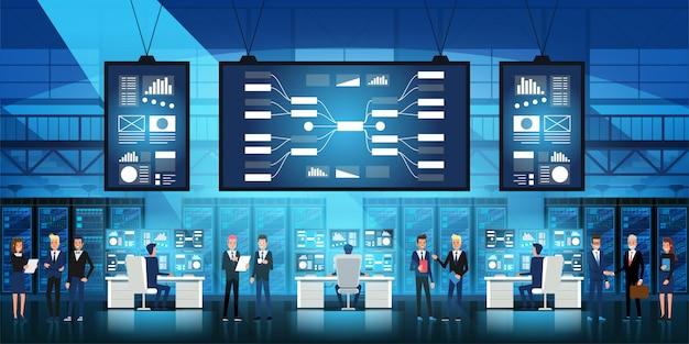 Engenheiros de ti em grandes centros de dados trabalham com novas tecnologias