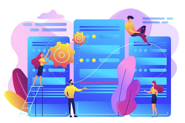 Engenheiros e administradores de data center minúsculos trabalhando com servidores. centro de dados, sistema de computador centralizado, conceito de armazenamento remoto de dados. ilustração isolada violeta vibrante brilhante