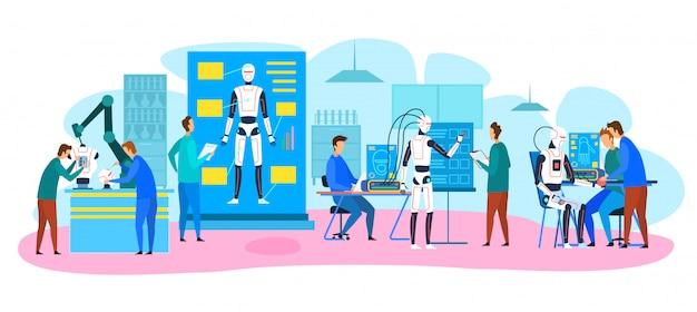 Engenheiros fazendo, testando robôs