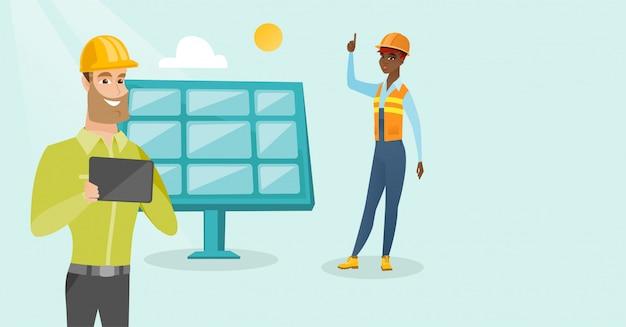 Engenheiros multiétnicas, trabalhando, em, planta poder solar