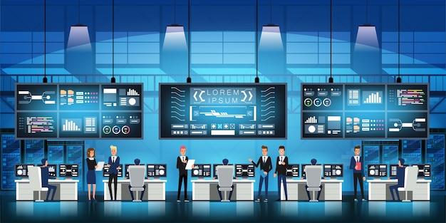 Engenheiros profissionais de ti no data center trabalham em um projeto governamental de nova tecnologia com salas de servidores