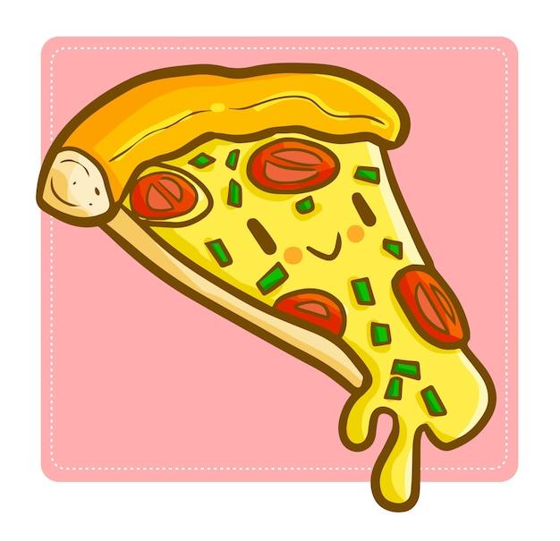 Engraçada e gostosa pizza de queijo kawaii sorrindo, confiante de ser deliciosa.
