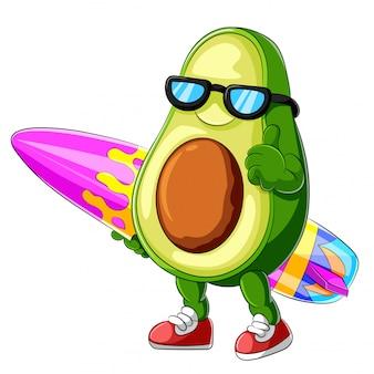 Engraçado, abacate, caricatura, surfando