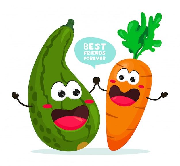 Engraçado abobrinha e cenoura com o slogan. melhores amigas para sempre. ilustração com legumes em estilo simples dos desenhos animados.