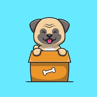Engraçado cão pug brincando na caixa de desenho animado
