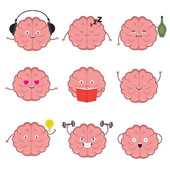 Engraçado cérebro forte, saudável e inteligente. emoções do cérebro vector conjunto de personagens de desenhos animados