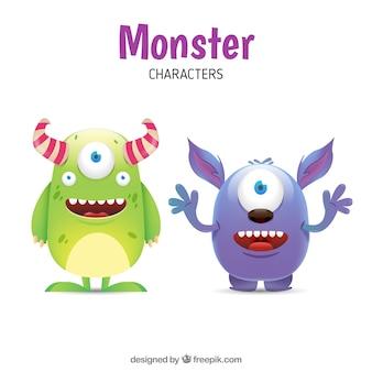 Engraçado conjunto monstro de dois