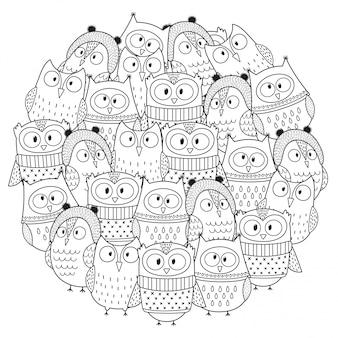 Engraçado corujas no inverno círculo forma padrão.