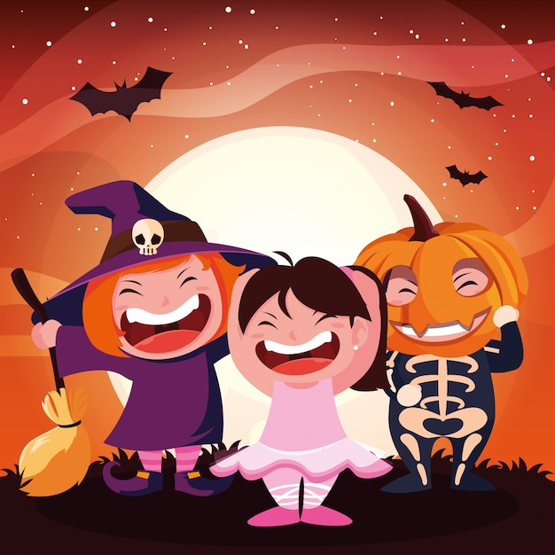 Engraçado crianças disfarçadas para o halloween