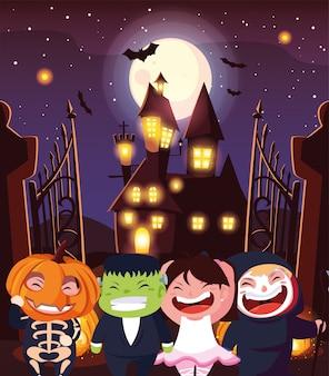 Engraçado crianças disfarçam em cena de halloween