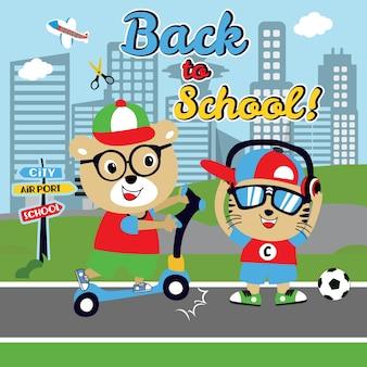 Engraçado de volta ao vetor dos desenhos animados da escola