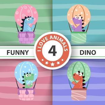 Engraçado, dinossauro ar, balloon, ilustração