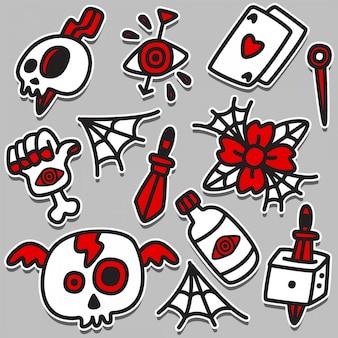 Engraçado doodle tatuagem design ilustração