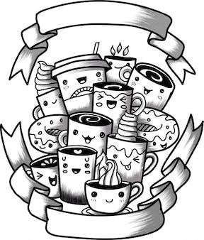 Engraçado dos desenhos animados doodle xícara de café