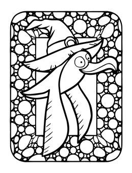 Engraçado e fofo kawaii seagul voando usando chapéu de bruxa para a festa de halloween - página para colorir