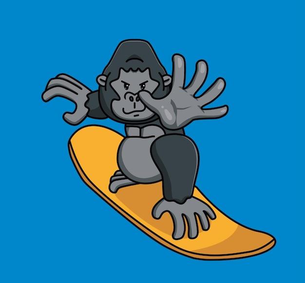 Engraçado, jogando uma prancha de surfe gorila de verão desenho animado animal isolado estilo plano adesivo web design