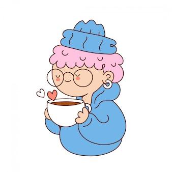 Engraçado jovem bonito beber café. cartoon personagem ilustração ícone do design. isolado no fundo branco