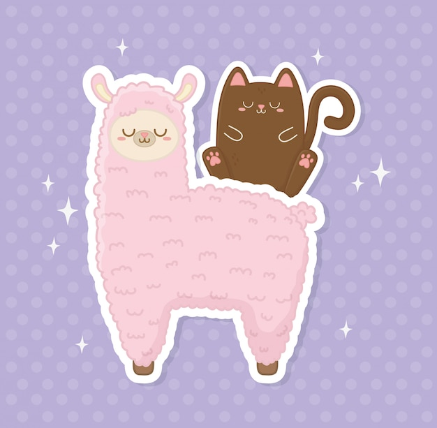 Engraçado lama peruana e gato kawaii caracteres