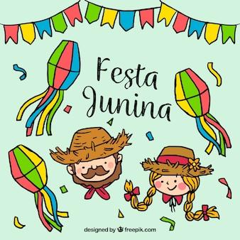 Engraçado mão desenhada junina festivo fundo