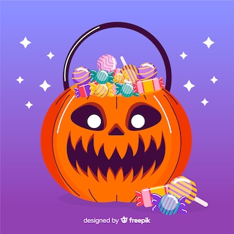 Engraçado mão desenhada saco de abóbora de halloween