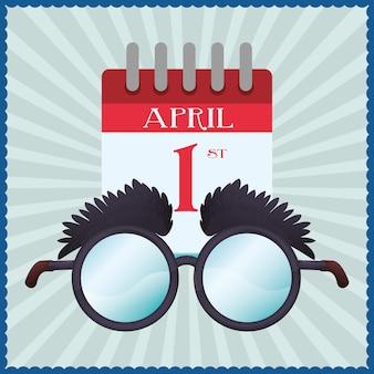 Engraçado óculos calendário abril tolos