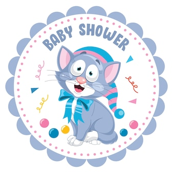 Engraçado pequeno gato posing, cartão para chá de bebê