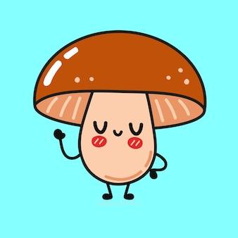 Engraçado personagem cogumelo fofo