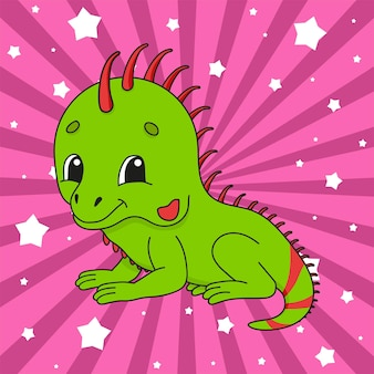 Engraçado personagem de desenho animado iguana